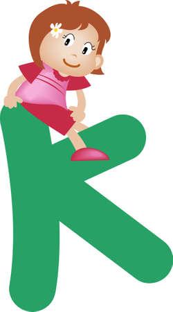 Girl with Alphabet letter k photo