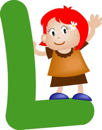 literal: Girl with Alphabet letter l