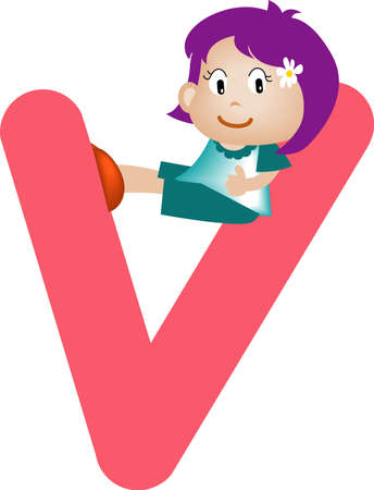 Girl with Alphabet letter v Stock Photo