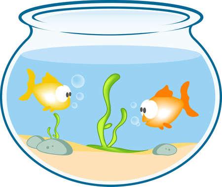 algas marinas: Ilustraci�n de peces en el cuenco  Foto de archivo