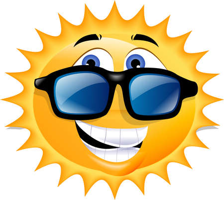 An illustration of the sun, wearing sunglasses and grinning. Stock Photo
