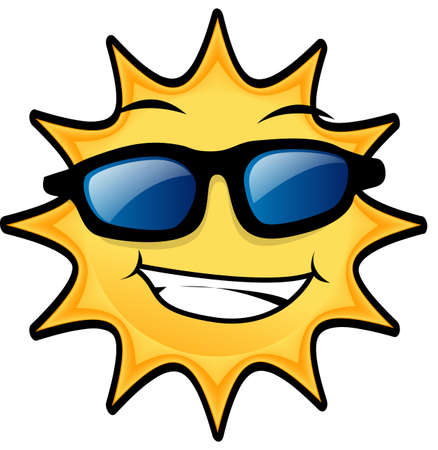 happy Sun wearing blue eye glasses Stock Photo - 3205713