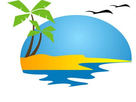 palmeras: Isla tropical esplendor, playa, la isla con palmeras y gaviotas volar por el cielo