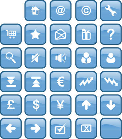 A set of common used web button (29 button - blue version) Stock Photo