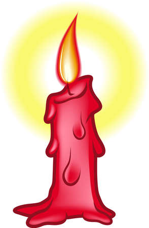An Illustration of Glowing Red Birthday Candle illustration