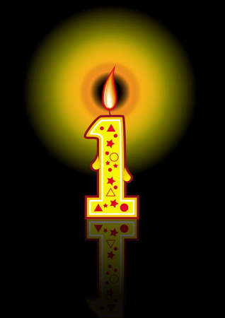 A cute colorful birthday candle #1  - black background Stock Photo - 3205447