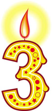 A cute colorata compleanno candela # 3 per la tua torta