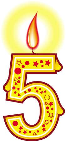 Une bougie d'anniversaire cute colorful # 5 pour votre gâteau