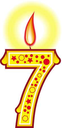 Une bougie d'anniversaire cute colorful # 7 pour votre gâteau