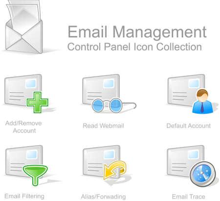 interface menu tool: Gestione e-mail 2 - icona del Pannello di controllo per il web design