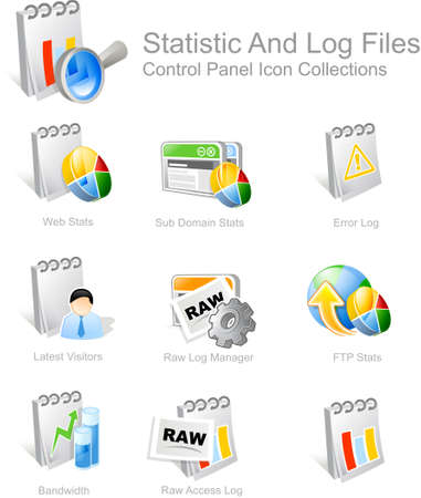 vectored: Statistic & Log Files - Control Panel icon for web design Stock Photo