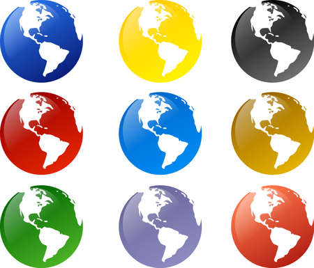 Globe icons in various color