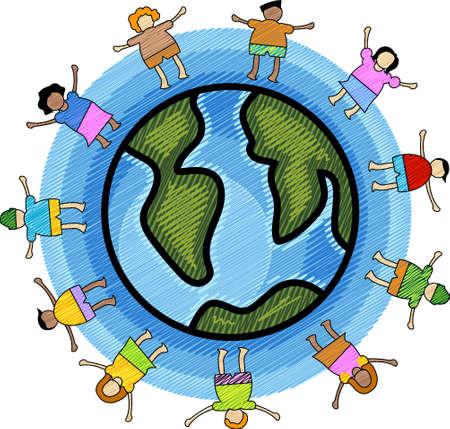 Illustration of multicultural kids with circle blue background