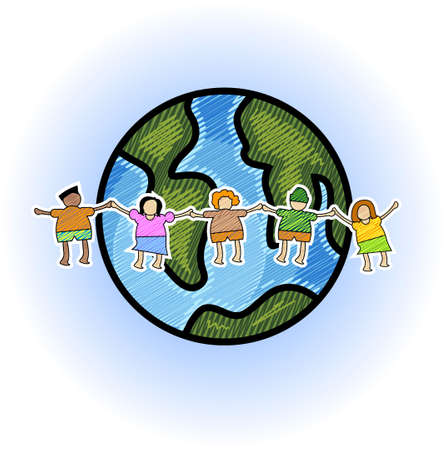 Illustration of multicultural kids with globe in scribble style illustration