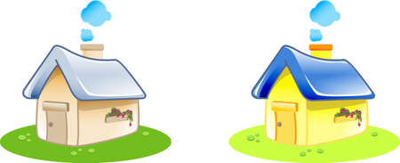 Home icon - illustration of 2 houses in various color