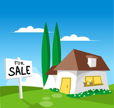 residential neighborhood: House for sale (check out my other illustration with SOLD sign)