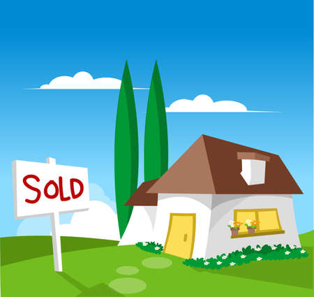 House for sale - Sold (check out my other illustration with FOR SALE sign) Stock Illustration - 3205057