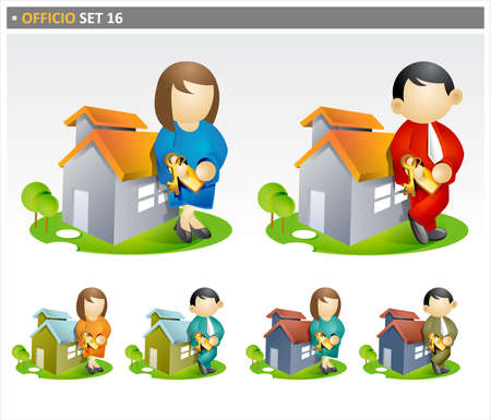 Illustrations of male and female real estate agents. illustration