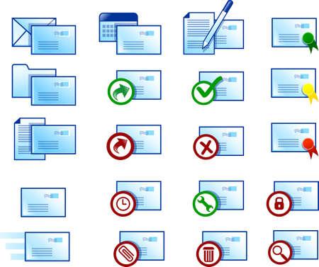 webmail: Various clean email icons (blue version)