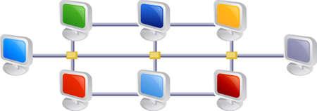 Ilustración de la computadora de red  Foto de archivo - 3173126