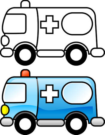 Ambulance - Printable coloring page for children or you can use it as clip art. photo