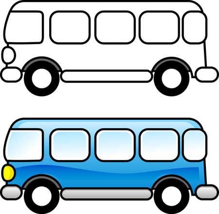 Bus - para imprimir la página para colorear para los niños o puede usarlo como un clip art.  Foto de archivo - 3173171