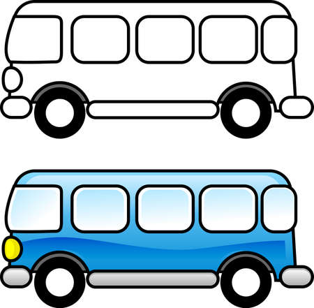 printable coloring pages: Bus - Printable coloring page for children or you can use it as a clip art.