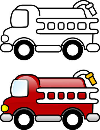 Fire Truck - Printable coloring page for children or you can use it as a clip art.