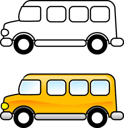 printable: School Bus - Printable coloring page for children or you can use it as a clip art.