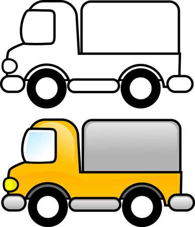 Camiones - para imprimir la página para colorear para los niños o puede usarlo como un clip art.  Foto de archivo - 3173169