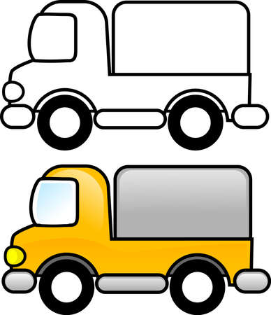Truck - Printable coloring page for children or you can use it as a clip art.