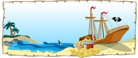 An illustration of pirate ship with treasure Banco de Imagens