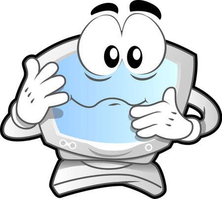 computer mascot: Computer mascot (illustration of a computer desktop confused)