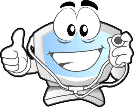Computer mascot (illustration of a computer desktop smiling with stethoscope in his hand)