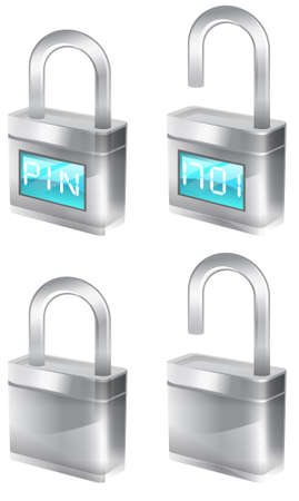 securing: silver padlocks that are part of the tekno icon set. Stock Photo