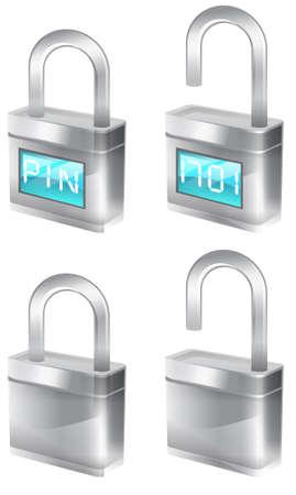 precautionary: silver padlocks that are part of the tekno icon set. Stock Photo