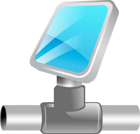 cabling: a computer monitor connected to a network conduit or cable. Illustration belongs to tekno icon set.