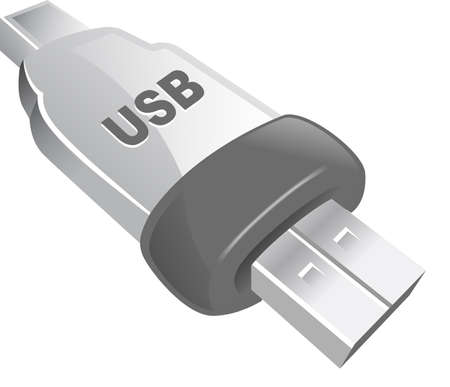 An illustrated icon of a USB pin. part of tekno series.  Stock Photo