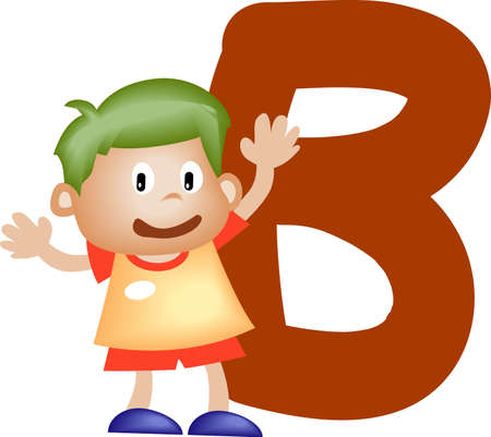 Boy with Alphabet letter B Stock Photo