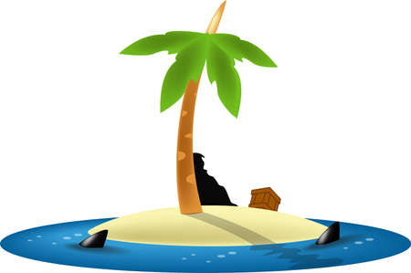 nowhere: Marooned in a lost island, surrounding by hungry shark Stock Photo