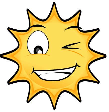 blinking: Sun blinking - isolated over white background Stock Photo