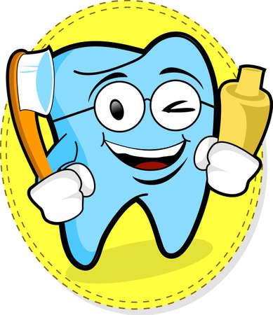 diente caricatura: Mascota de dientes con pasta de dientes y cepillo de dientes -