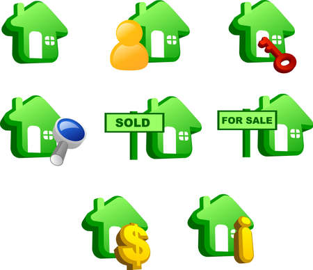 Various icons of house (green version)