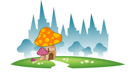An illustration of a fantasy world. Mushroom houses and a backdrop of silhouette of castle towers. illustration