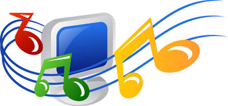 Computer with musical note icon Stock Photo