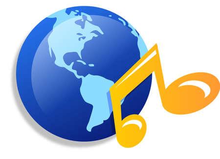 Mundo con icono de nota musical  Foto de archivo - 3236566