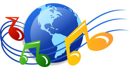 World of music icon - isolated over white background photo