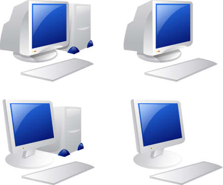 Illustration of Desktop computer over white background Stock Photo
