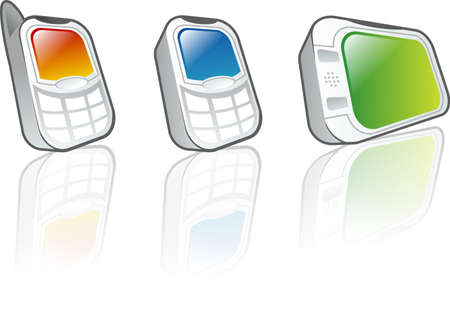 umpc: An illustration of three stylish mobile devices, two phones and one video player. Illustration includes reflection.