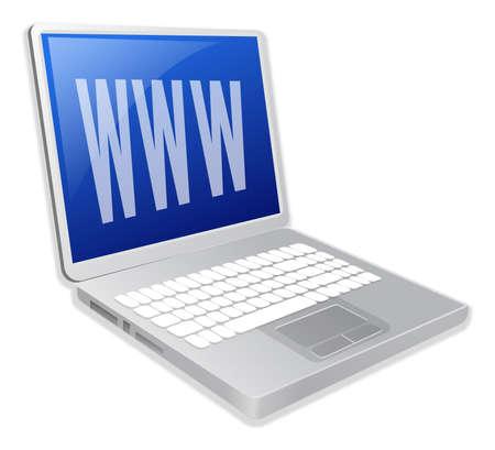 powerbook: Laptop illustration with internet symbol Stock Photo